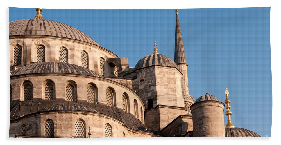 Istanbul Bath Sheet featuring the photograph Blue Mosque Domes 08 by Rick Piper Photography