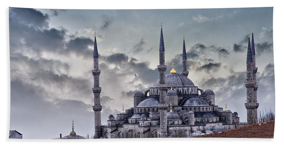 Blue Mosque Hand Towel featuring the photograph Blue Mosque In Istanbul by Sophie McAulay