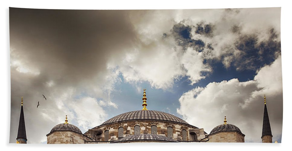 Dramatic Bath Sheet featuring the photograph Blue Mosque Istanbul by Sophie McAulay