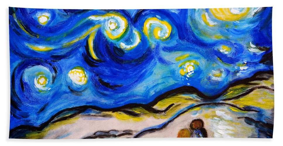 Blue Hand Towel featuring the painting Blue Night by Ramona Matei