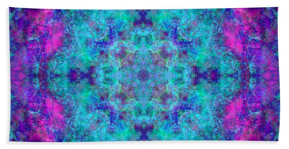 Rainbow Hand Towel featuring the photograph Blue Opal Rainbow Mandala by Susan Bloom