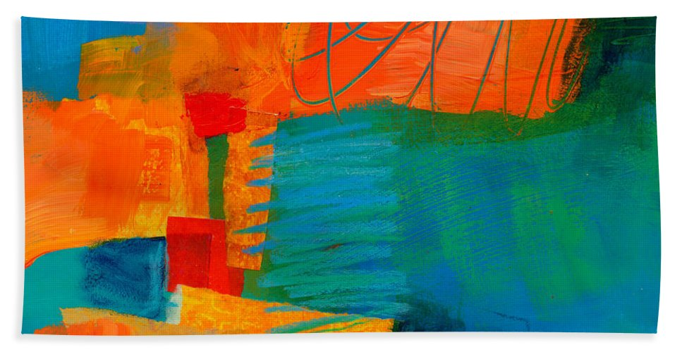 Acrylic Hand Towel featuring the painting Blue Orange 2 by Jane Davies