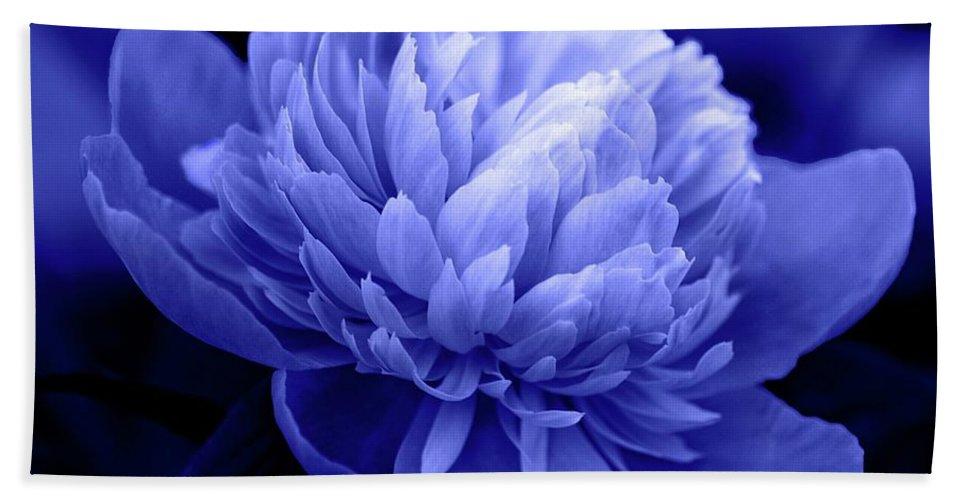 Flowers Bath Towel featuring the photograph Blue Peony by Sandy Keeton