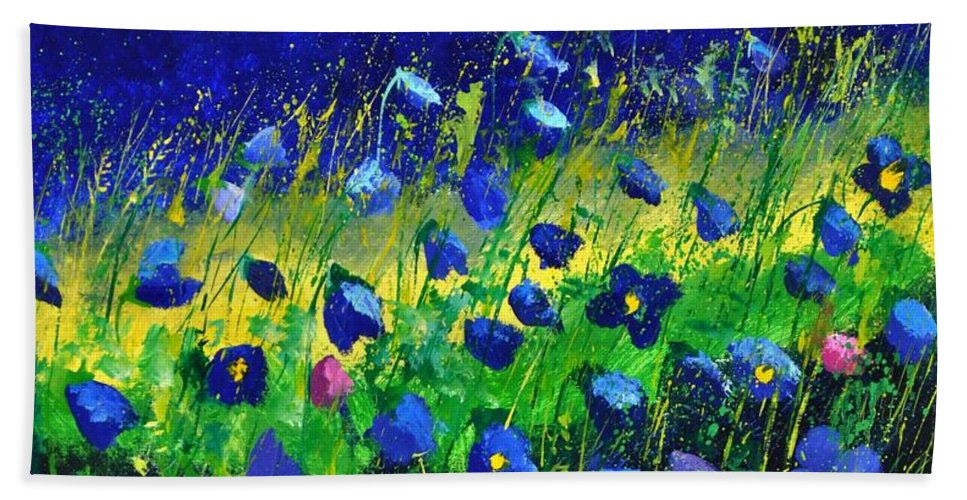 Landscape Hand Towel featuring the painting Blue poppies 674190 by Pol Ledent