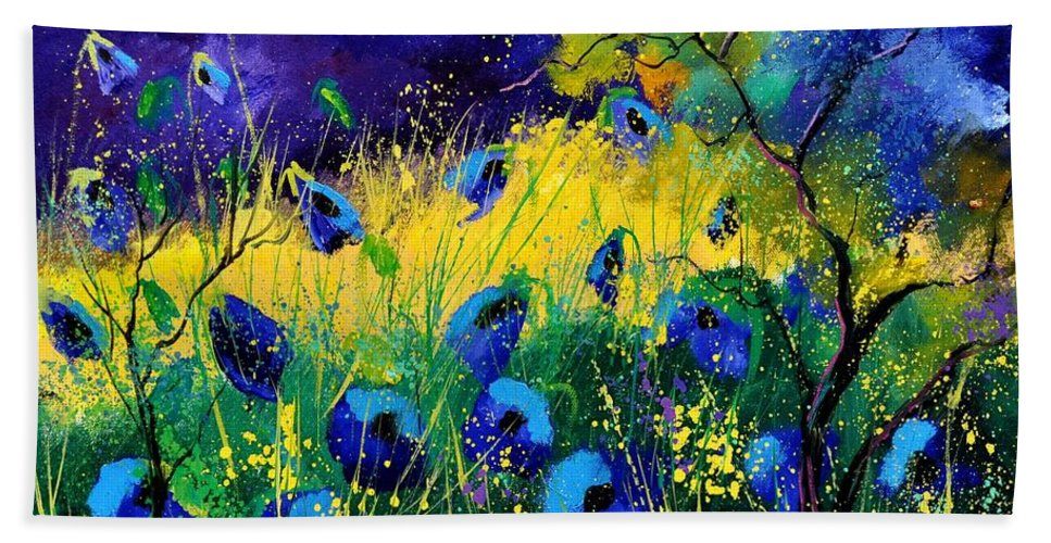Landscape Bath Towel featuring the painting Blue poppies 7741 by Pol Ledent