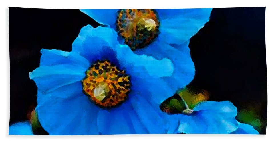 Blue Poppy Hand Towel featuring the painting Blue Poppies by Shere Crossman