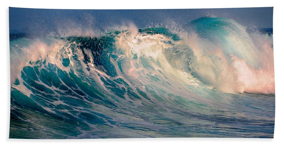 Wave Hand Towel featuring the photograph Blue Power. Indian Ocean by Jenny Rainbow