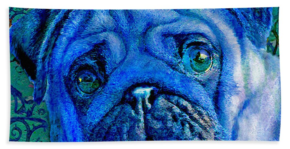 Pug Hand Towel featuring the digital art Blue Pug by Jane Schnetlage