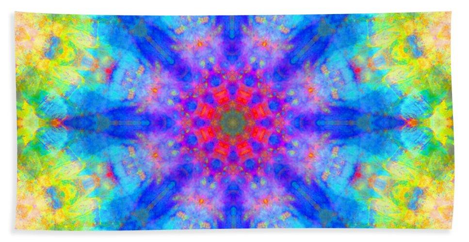Rainbow Bath Sheet featuring the photograph Blue Rainbow Star Mandala by Susan Bloom