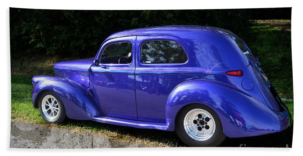 Quincy Illinois Hand Towel featuring the photograph Blue Restored Willy Car by Luther Fine Art