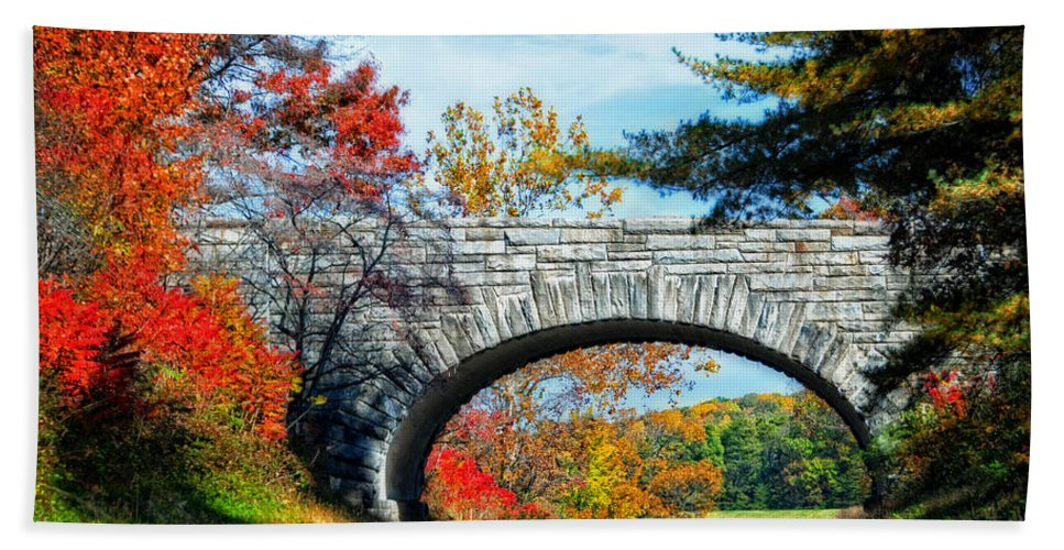 Blue Bath Towel featuring the photograph Blue Ridge Autumn Bridge by Lynn Bauer