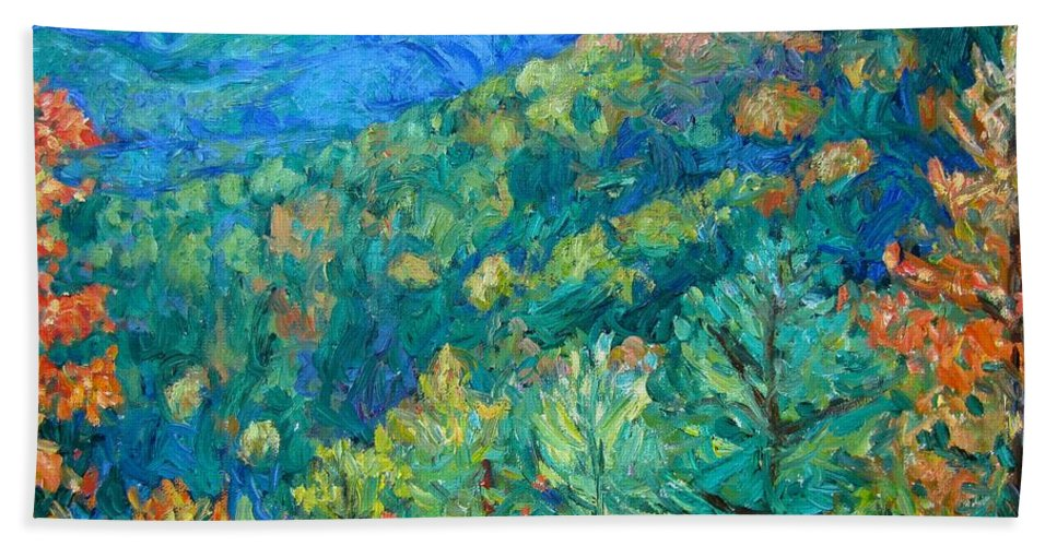 Blue Ridge Mountains Bath Sheet featuring the painting Blue Ridge Autumn by Kendall Kessler