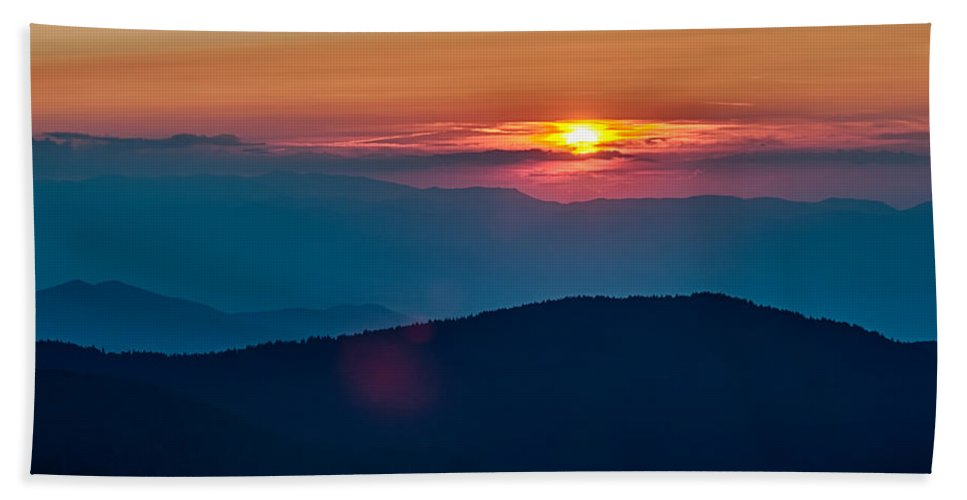 Mountains Bath Sheet featuring the photograph Blue Ridge Parkway Autumn Sunset Over Appalachian Mountains by Alex Grichenko