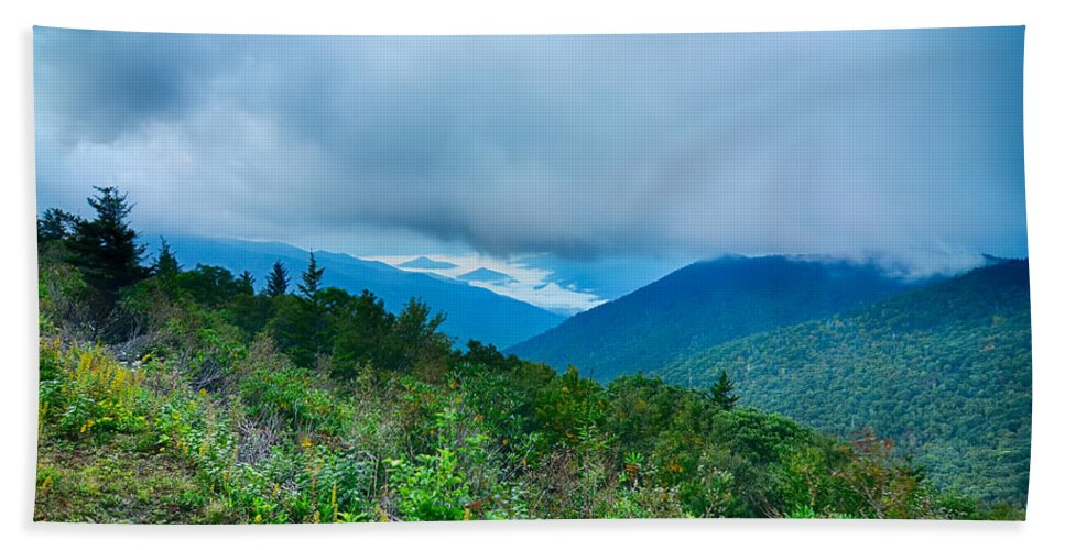 Mountains Bath Sheet featuring the photograph Blue Ridge Parkway National Park Sunrise Scenic Mountains Summer by Alex Grichenko