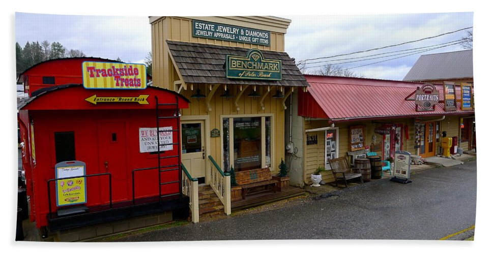 Shop Bath Sheet featuring the photograph Blue Ridge Store Fronts by Denise Mazzocco
