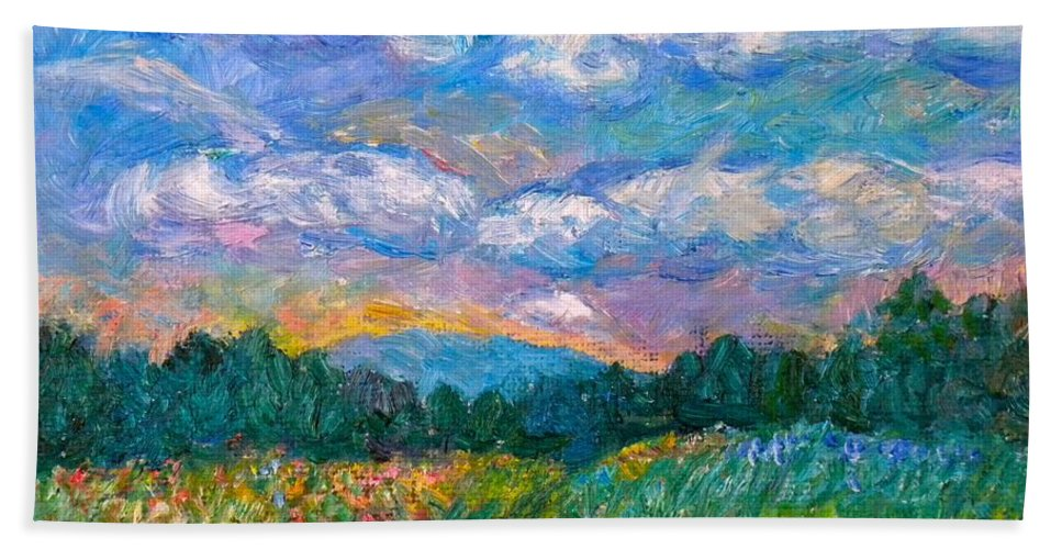 Landscape Bath Towel featuring the painting Blue Ridge Wildflowers by Kendall Kessler