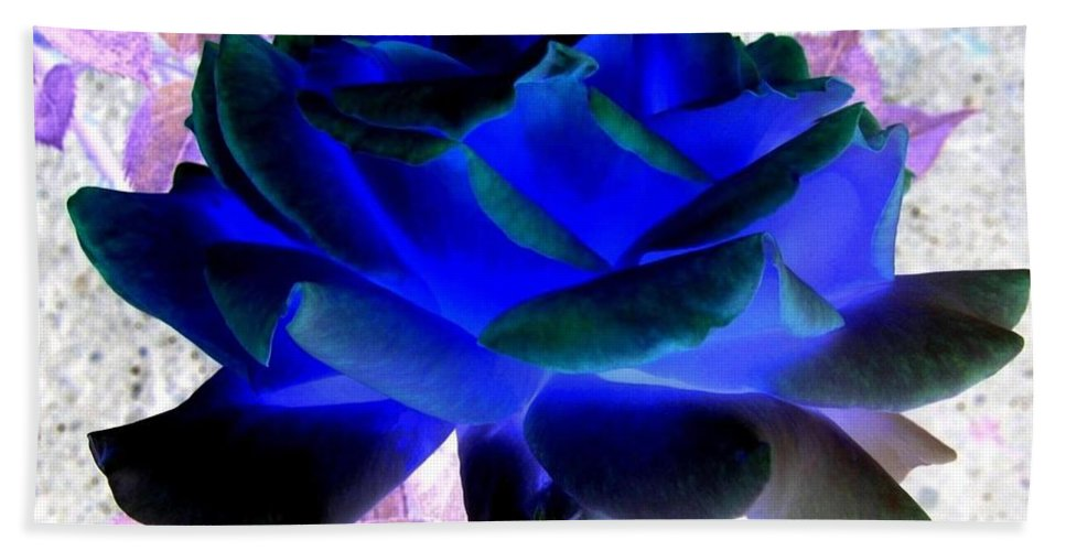 Blue Rose Hand Towel featuring the digital art Blue Rose by Will Borden