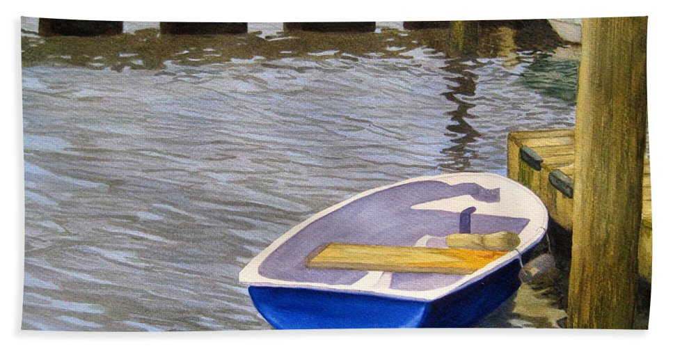 Marsh Bath Sheet featuring the painting Blue Row Boat by Julia RIETZ