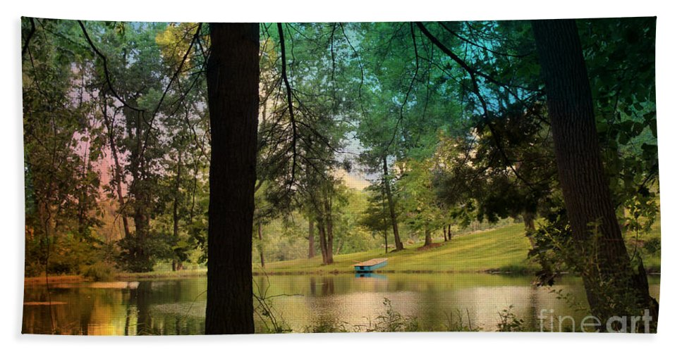 Pond Hand Towel featuring the photograph Blue Rowboat On Golden Pond by Beth Ferris Sale