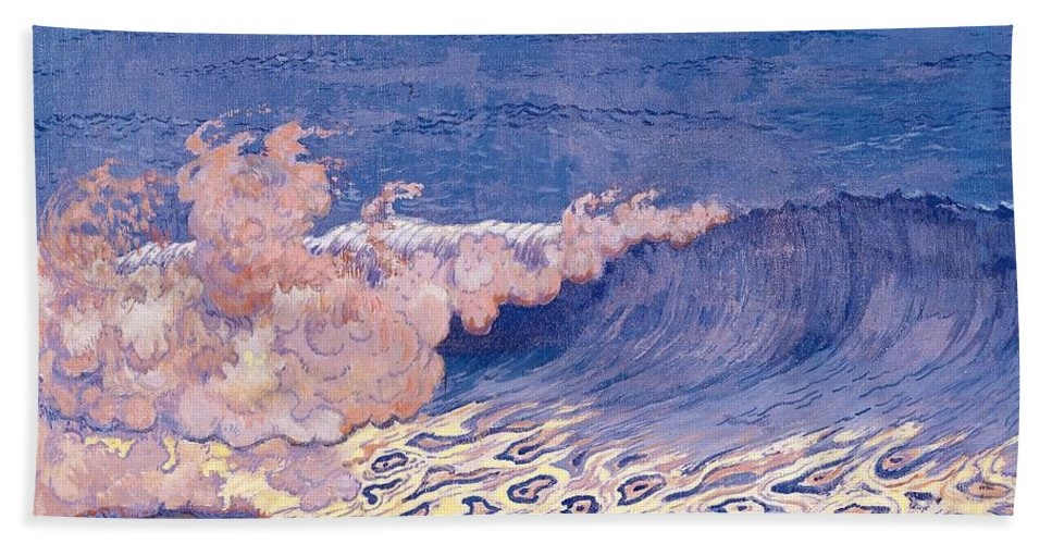 Breakers Bath Sheet featuring the painting Blue Seascape Wave Effect by Georges Lacombe