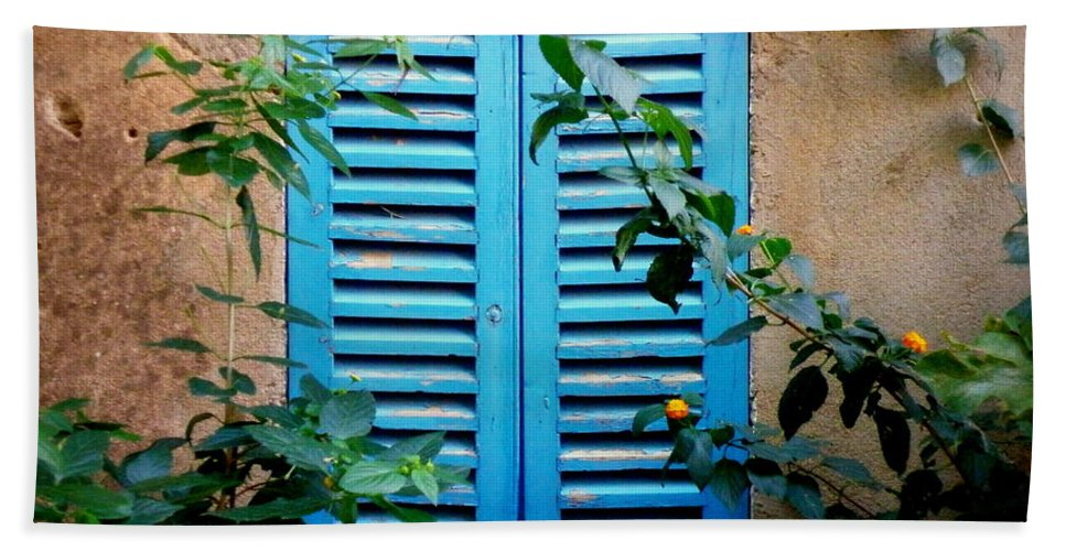 Window Hand Towel featuring the photograph Blue Shuttered Window by Lainie Wrightson