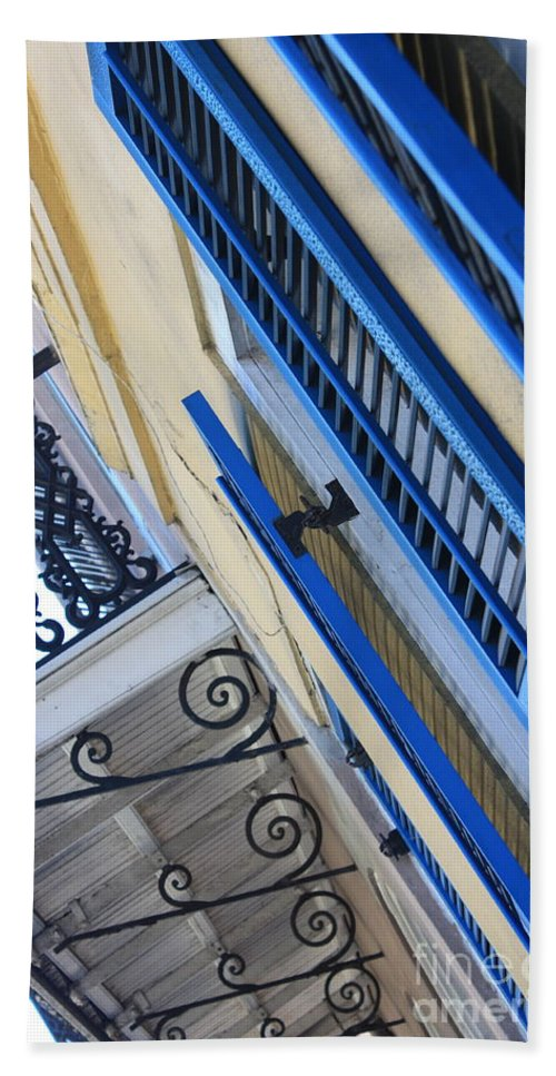 New Orleans Bath Sheet featuring the photograph Blue Shutters In New Orleans by Carol Groenen