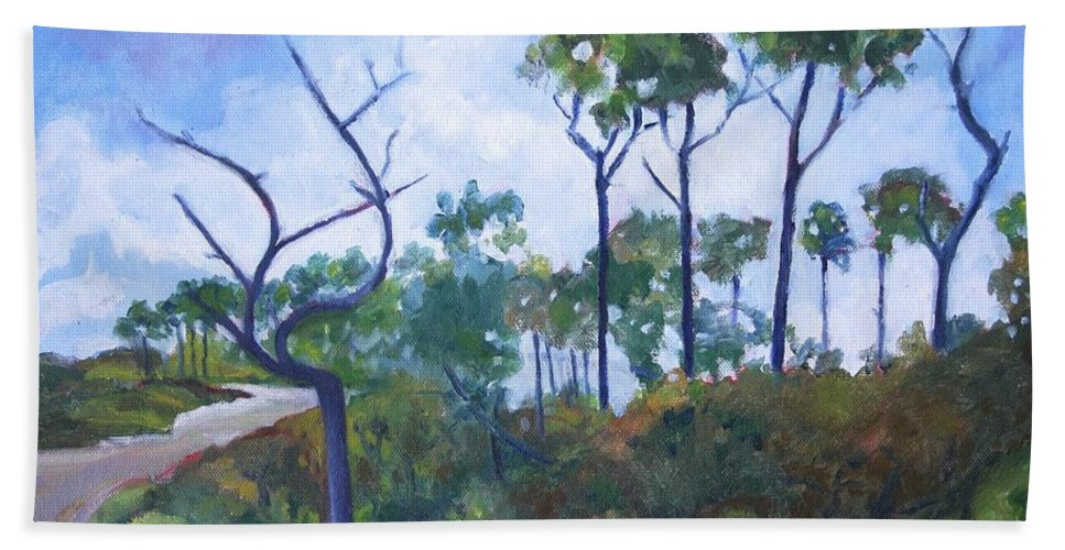 Landscape Bath Sheet featuring the painting Blue Skies by Jan Bennicoff