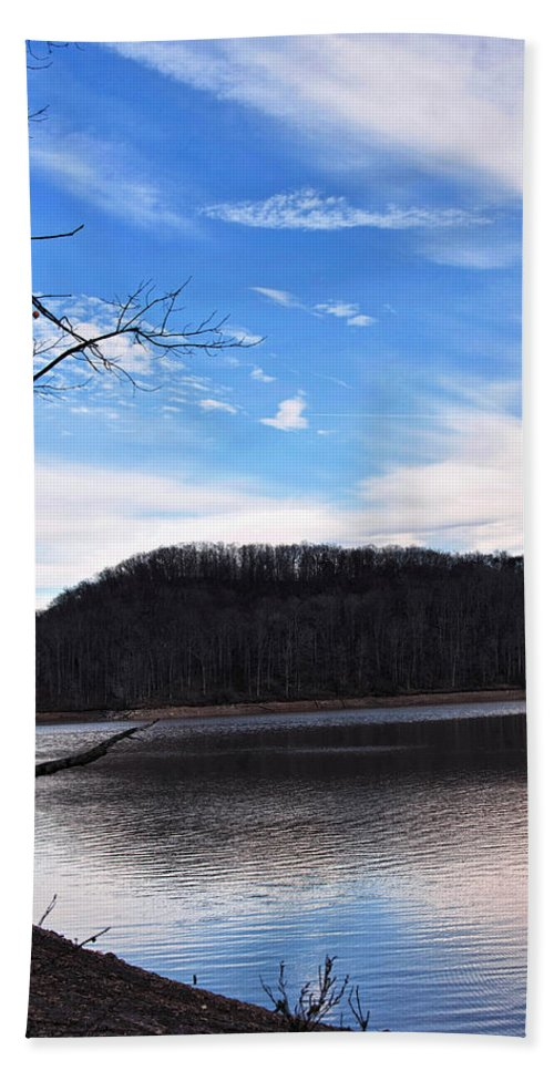 Landscape Hand Towel featuring the digital art Blue Skies Over Beech Fork Lake by Chris Flees