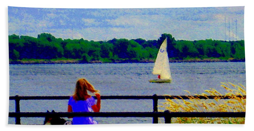 Canal Hand Towel featuring the painting Blue Skies White Sails Drifting Blonde Girl And Collie Watch River Run Lachine Scenes Carole Spandau by Carole Spandau