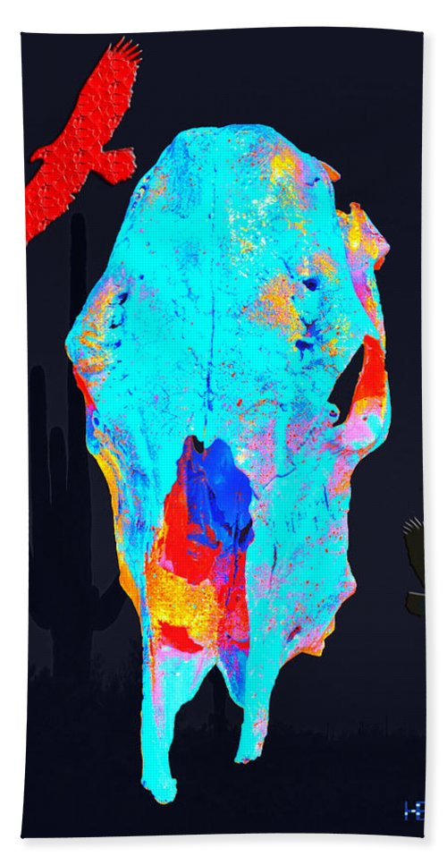 Skull Art Photographs Hand Towel featuring the photograph Blue Skulls At Dusk by Mayhem Mediums