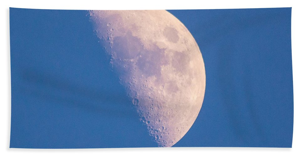Half Hand Towel featuring the photograph Blue Sky Half Moon by Cheryl Baxter