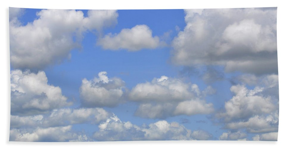 Color Hand Towel featuring the photograph Blue Sky With Cumulus Clouds Day Usa by Sally Rockefeller