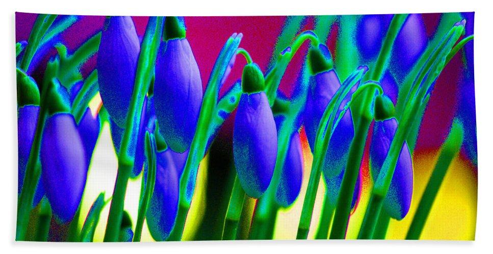 Blue Bath Sheet featuring the digital art Blue Snowdrops by Carol Lynch