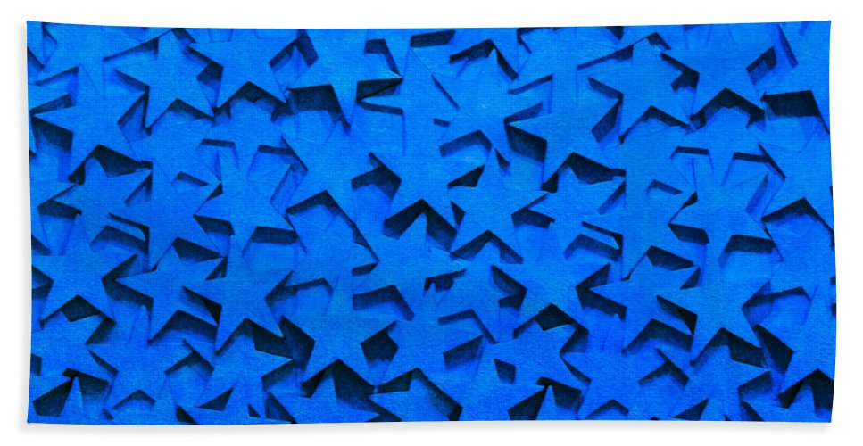Star Hand Towel featuring the photograph Blue Stars by Art Block Collections