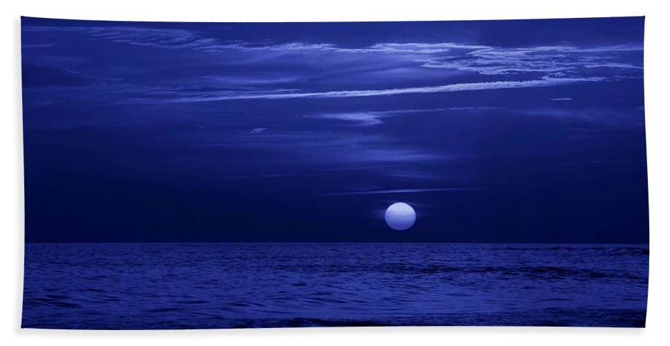 Panama City Beach Bath Sheet featuring the photograph Blue Sunset by Sandy Keeton