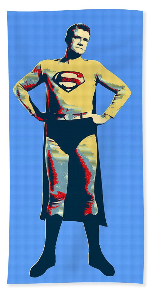 Superman Hand Towel featuring the mixed media Blue Superman by Dominic Piperata