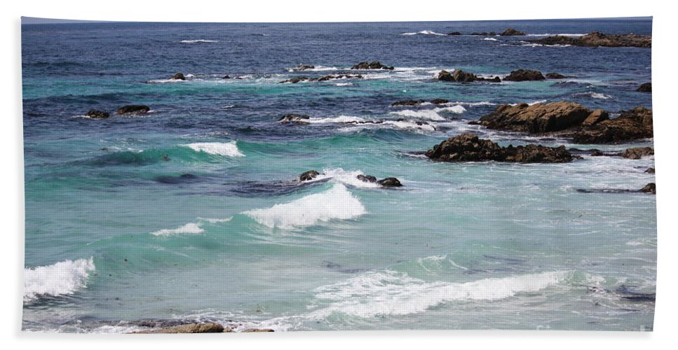 Blue Surf Hand Towel featuring the photograph Blue Surf by Carol Groenen