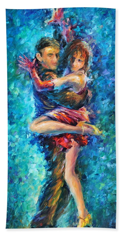 Afremov Bath Sheet featuring the painting Blue Tango 1 by Leonid Afremov