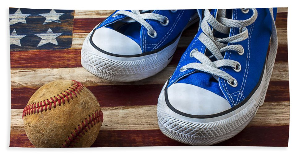 Blue Bath Towel featuring the photograph Blue Tennis Shoes And Baseball by Garry Gay
