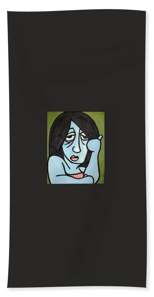 Portrait Bath Towel featuring the painting Blue by Thomas Valentine