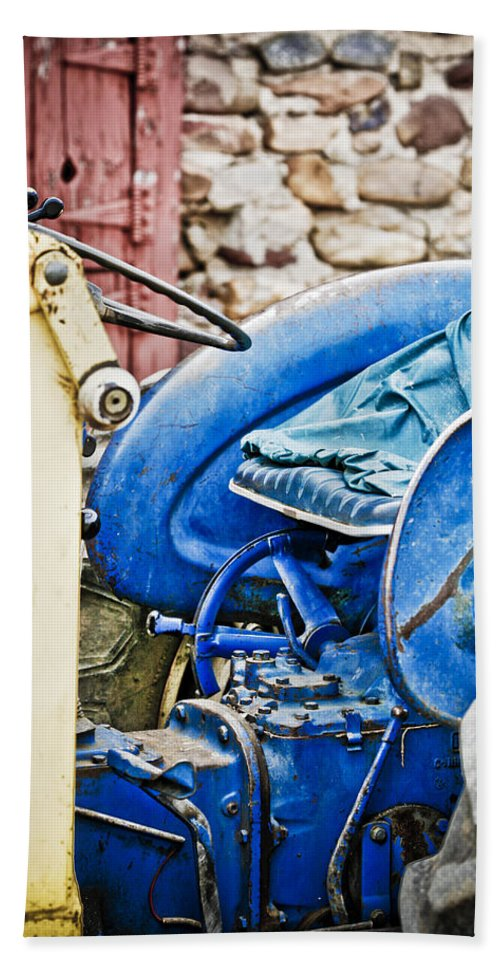 Boulder Hand Towel featuring the photograph Blue Tractor by Marilyn Hunt