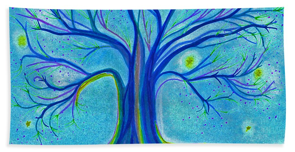 First Star Art By Jrr Hand Towel featuring the drawing Blue Tree Sky By Jrr by First Star Art