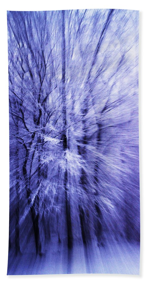 Abstract Hand Towel featuring the photograph Blue Trees by Guy Shultz