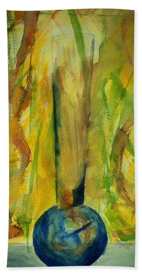 Vase Hand Towel featuring the painting Blue Vase by George Gadson