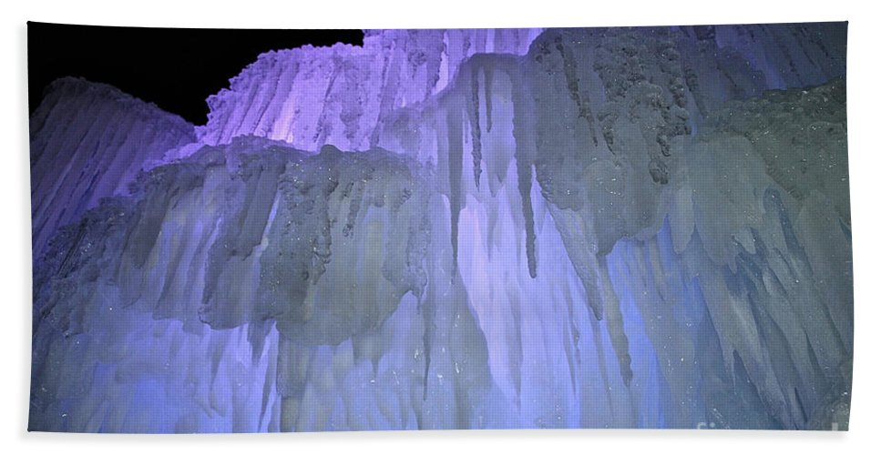 Ice Hand Towel featuring the photograph Blue Violet Ice Mountain by Susan Herber