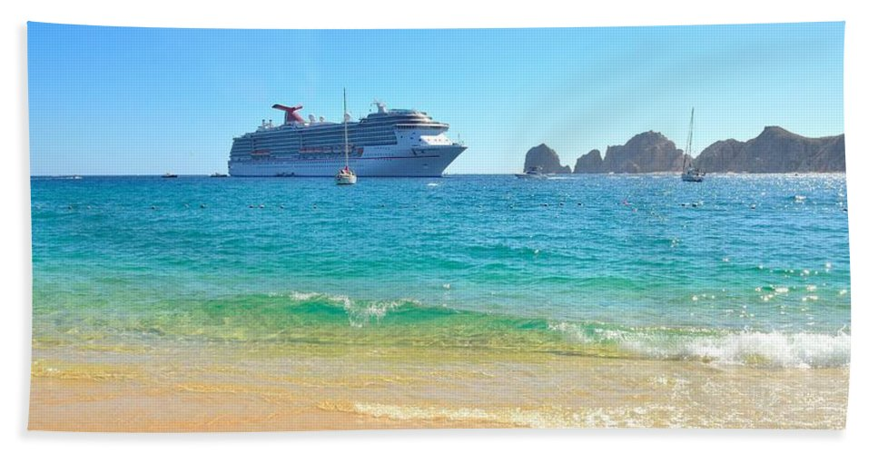 Blue Water Hand Towel featuring the photograph Blue Waters Of Cabo by Yinguo Huang