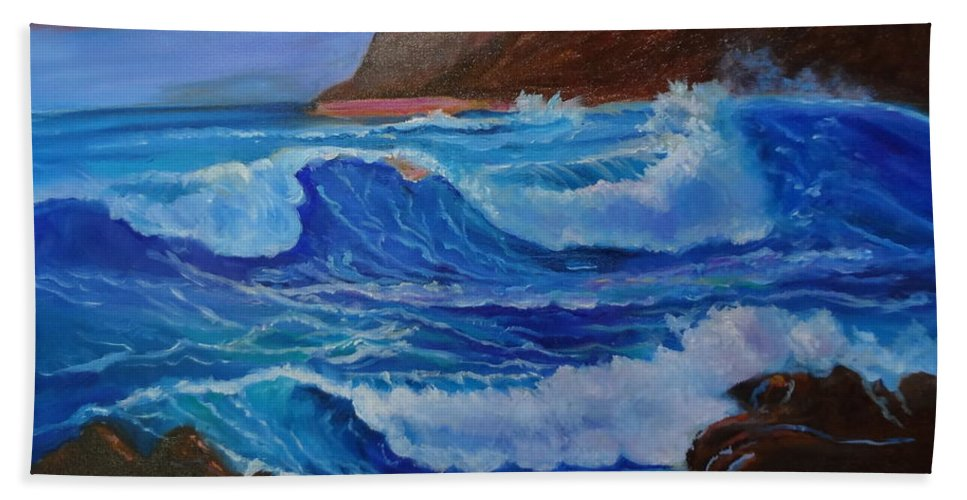 Waves Bath Sheet featuring the painting Blue Waves Hawaii by Jenny Lee