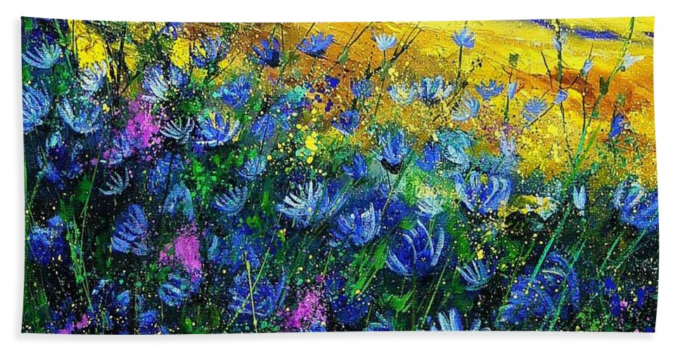 Flowers Hand Towel featuring the painting Blue Wild Chicorees by Pol Ledent