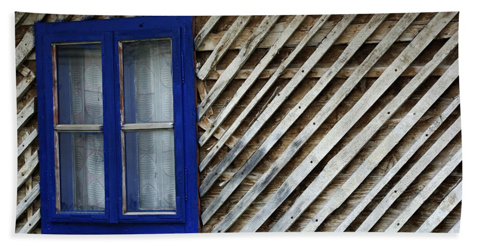 Abandoned Bath Sheet featuring the photograph Blue Window by Zoran Berdjan
