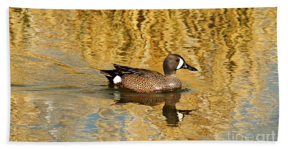 Blue Winged Teal Bath Sheet featuring the photograph Blue Winged Teal 2 by Vivian Christopher